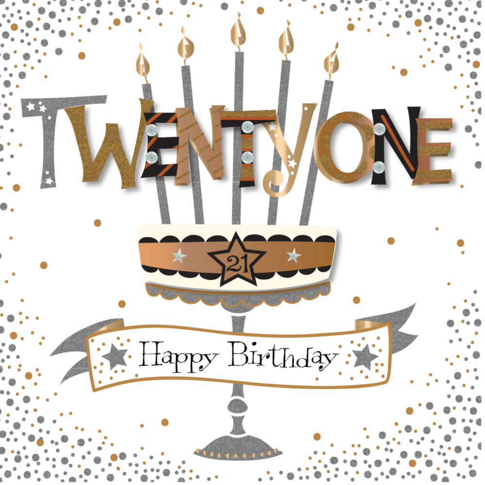 Twenty One 21st Birthday Handmade Embellished Greeting Card