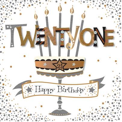 Twenty One 21st Birthday Handmade Embellished Greeting Card