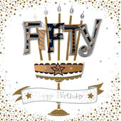 Fifty 50th Birthday Handmade Embellished Greeting Card