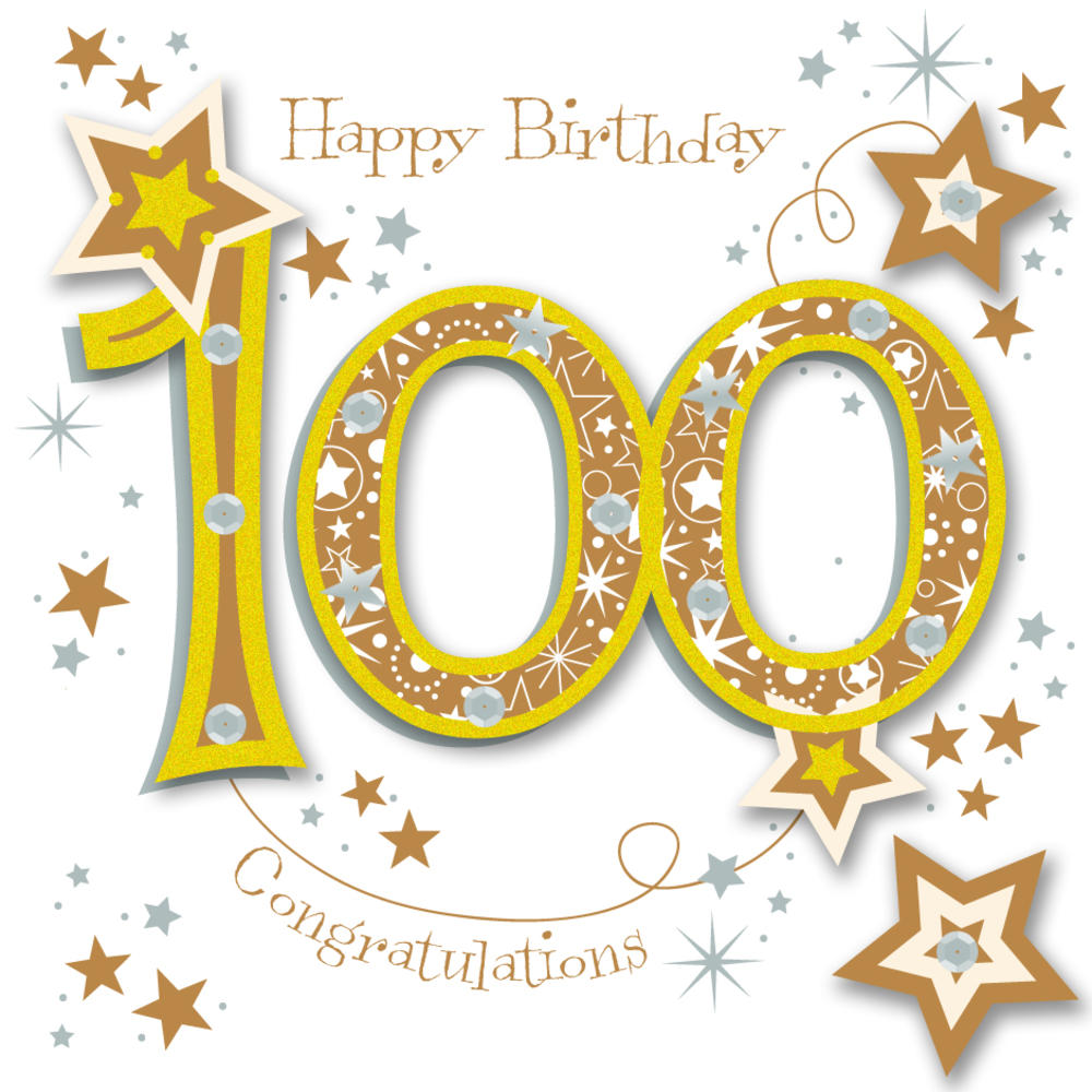 Happy 100th Birthday Handmade Embellished Greeting Card