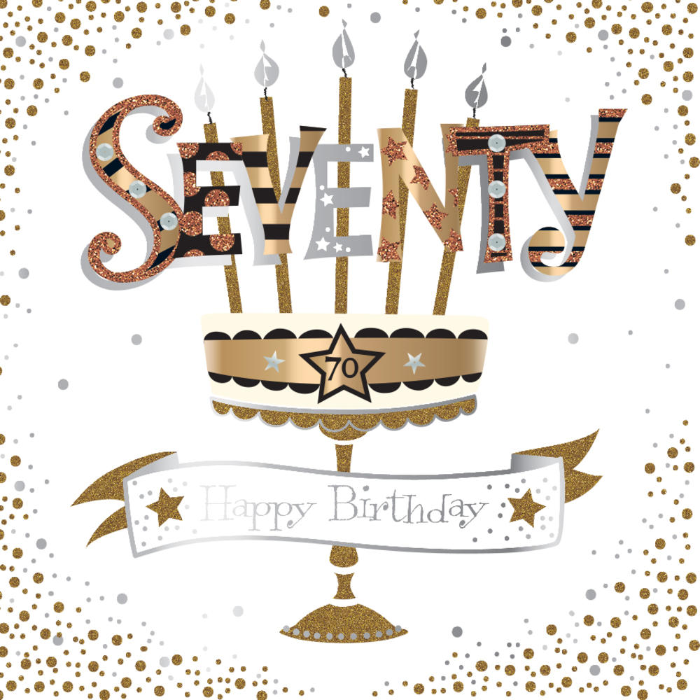 Seventy 70th Birthday Handmade Embellished Greeting Card