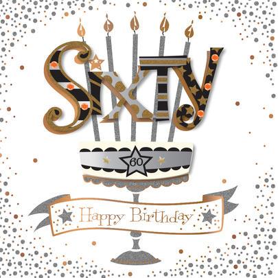 Sixty 60th Birthday Handmade Embellished Greeting Card