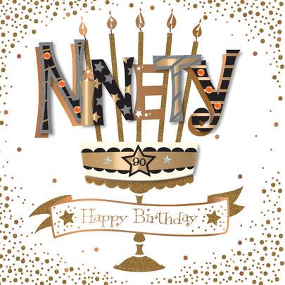 Ninety 90th Birthday Handmade Embellished Greeting Card