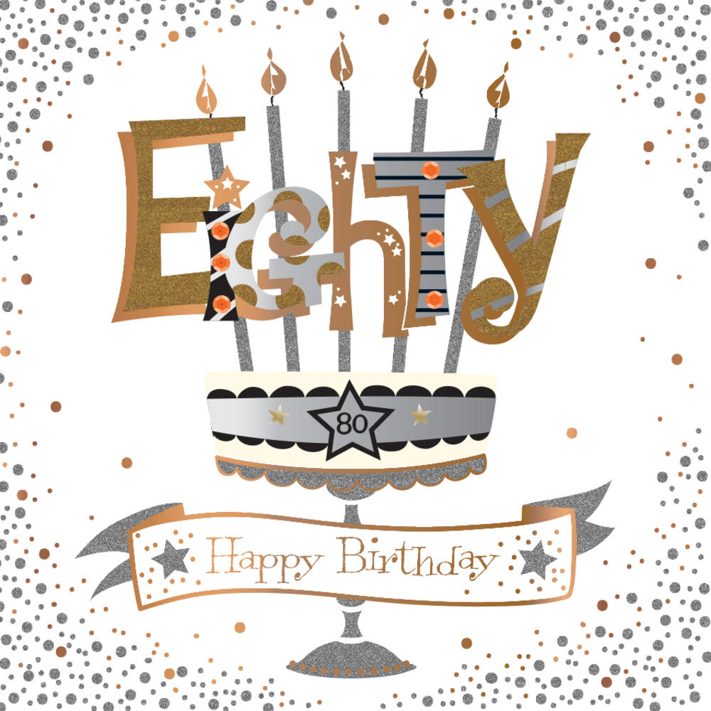Eighty 80th Birthday Handmade Embellished Greeting Card