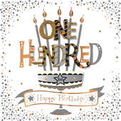 One Hundred 100th Birthday Handmade Embellished Card