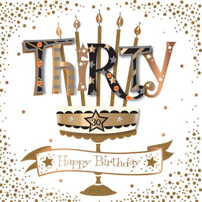 Thirty 30th Birthday Handmade Embellished Greeting Card