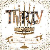 Thirty 30th Birthday Handmade Embellished Greeting Card