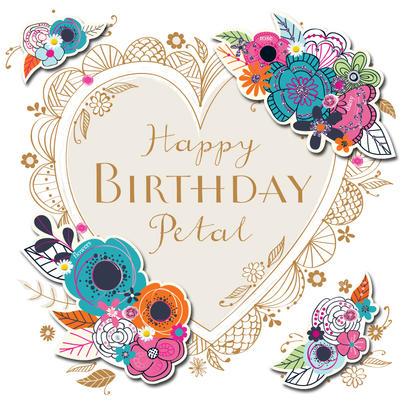 Happy Birthday Petal Handmade Embellished Greeting Card