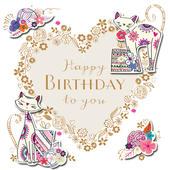 Happy Birthday Cats Handmade Embellished Greeting Card