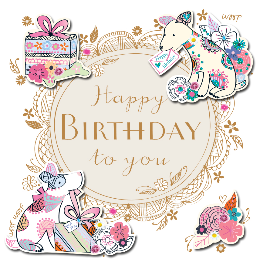 Happy Birthday Dogs Handmade Embellished Greeting Card ...