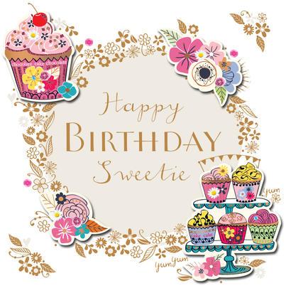Happy Birthday Sweetie Handmade Embellished Greeting Card