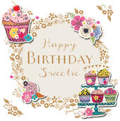 Happy Birthday Sweetie Handmade Embellished Greeting Card