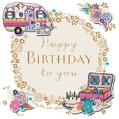 Happy Birthday Caravan Handmade Embellished Greeting Card