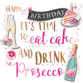 Birthday Cake & Prosecco Handmade Embellished Greeting Card
