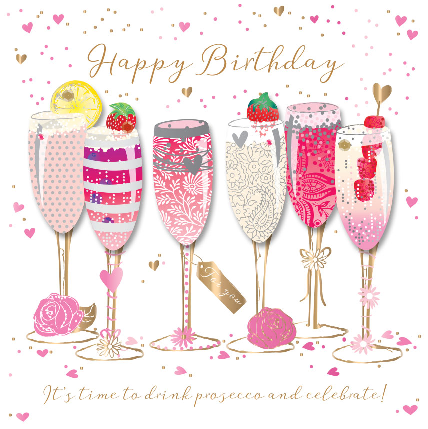 Prime Happy Birthday Prosecco Handmade Embellished Greeting Card Cards Funny Birthday Cards Online Alyptdamsfinfo