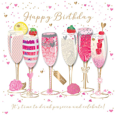 Happy Birthday Prosecco Handmade Embellished Greeting Card