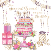 Special Friend Birthday Handmade Embellished Greeting Card