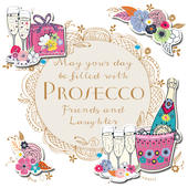 Prosecco Friends Laughter Birthday Greeting Card