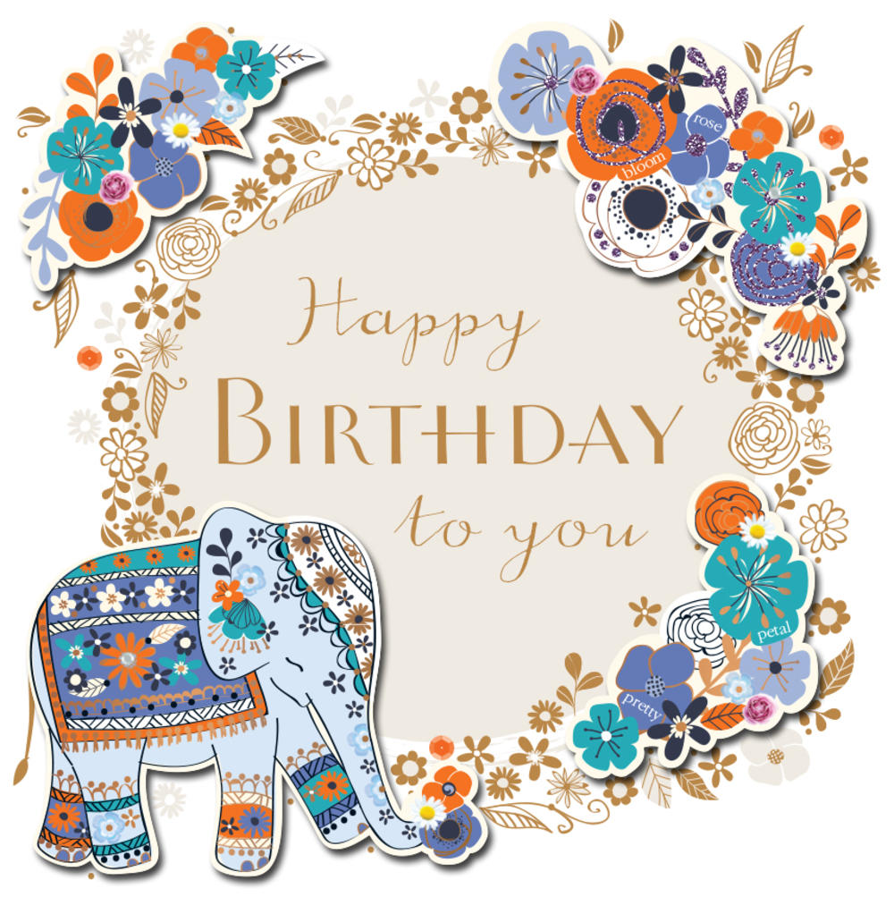 elephant happy birthday Happy Birthday Elephant Handmade Embellished Greeting Card   Cards elephant happy birthday