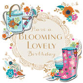 Blooming Lovely Birthday Handmade Embellished Greeting Card