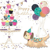 Cute Dog Birthday Handmade Embellished Greeting Card