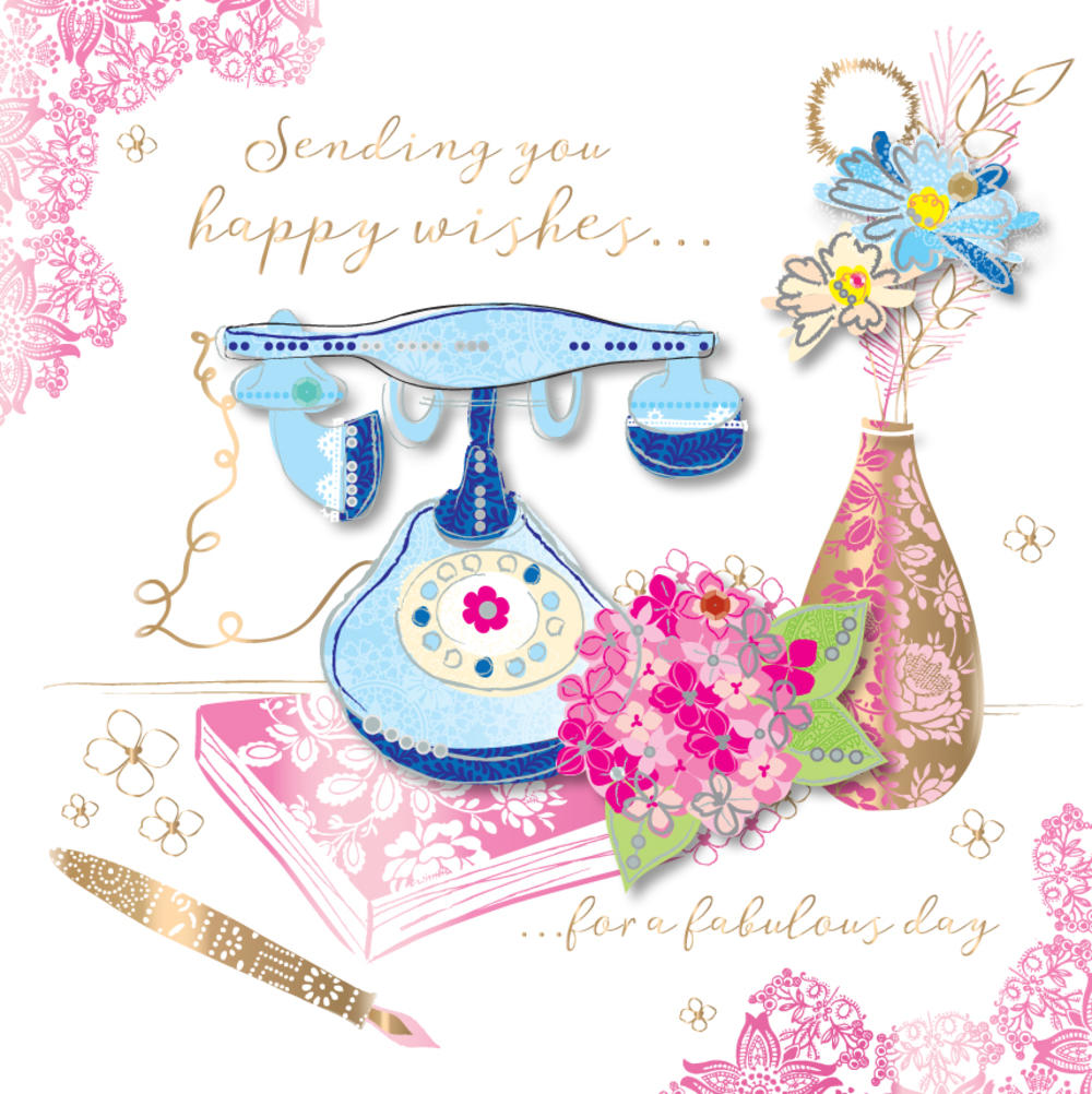 Happy Birthday Wishes Handmade Embellished Greeting Card