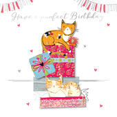 Purrfect Birthday Handmade Embellished Greeting Card