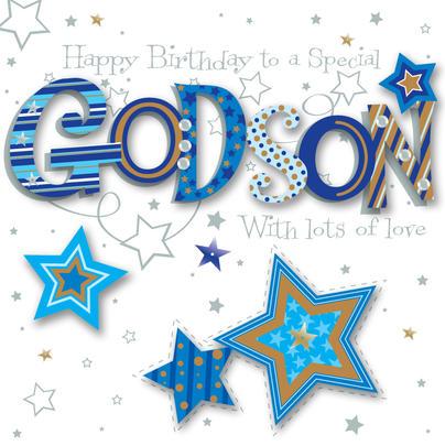 Godson Birthday Handmade Embellished Greeting Card