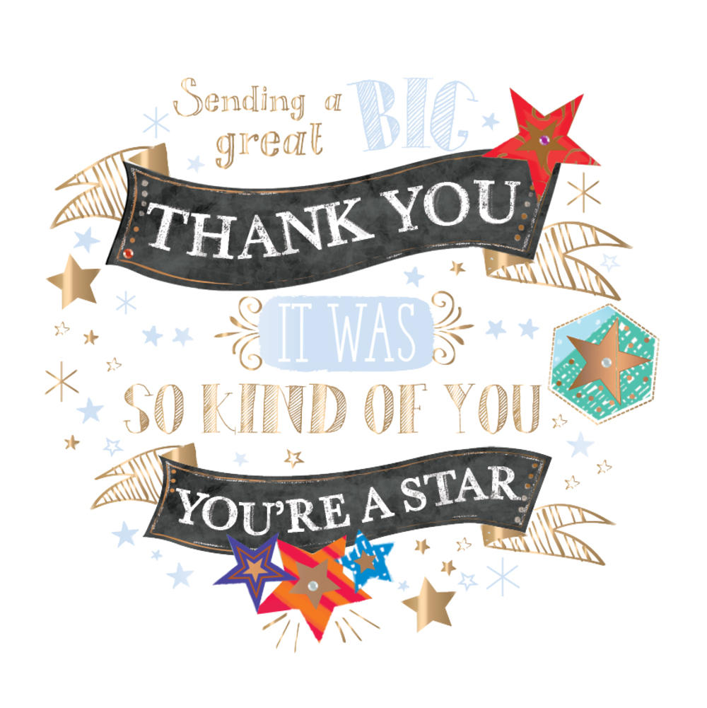 Thank You Handmade Embellished Greeting Card