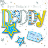 Daddy Birthday Handmade Embellished Greeting Card