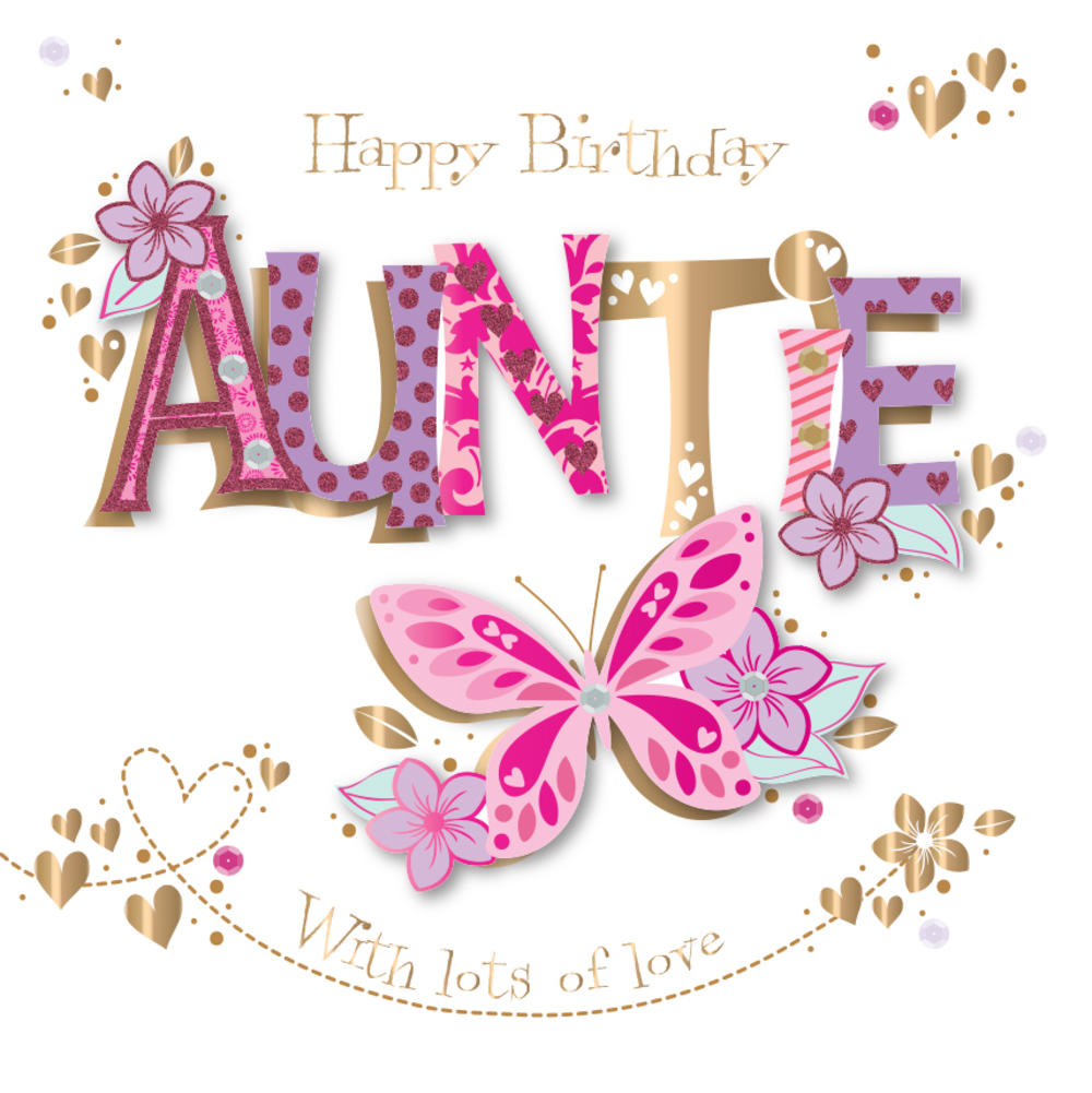 Auntie Birthday Handmade Embellished Greeting Card