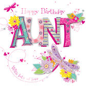 Aunt Birthday Handmade Embellished Greeting Card