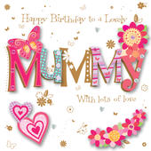 Mummy Birthday Handmade Embellished Greeting Car
