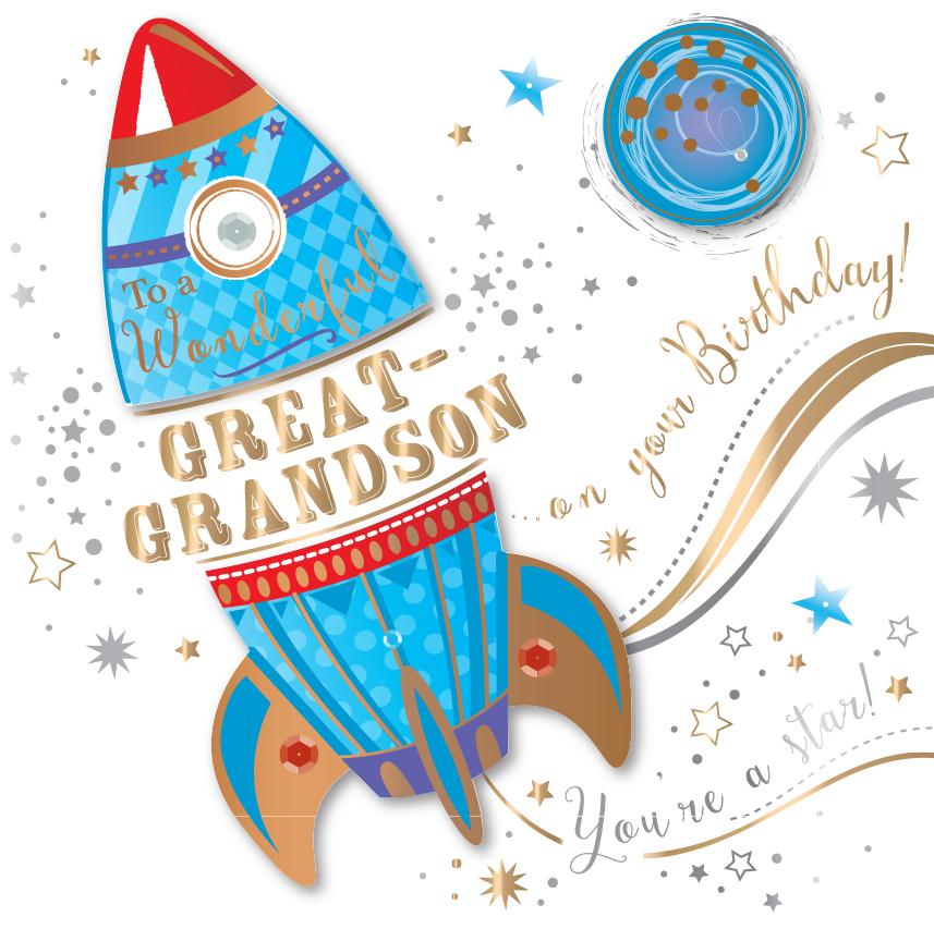 Great Grandson Birthday Handmade Embellished Greeting Card Cards