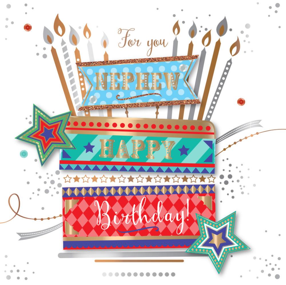 Nephew Birthday Handmade Embellished Greeting Card