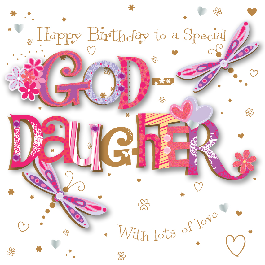 Goddaughter Birthday Handmade Embellished Greeting Card – Goddaughter Birthday Cards