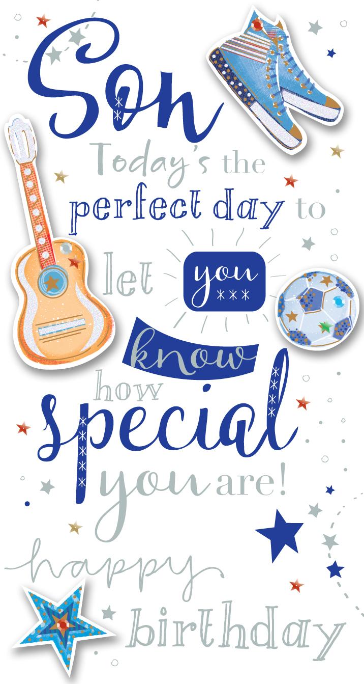 Son Birthday Handmade Embellished Greeting Card