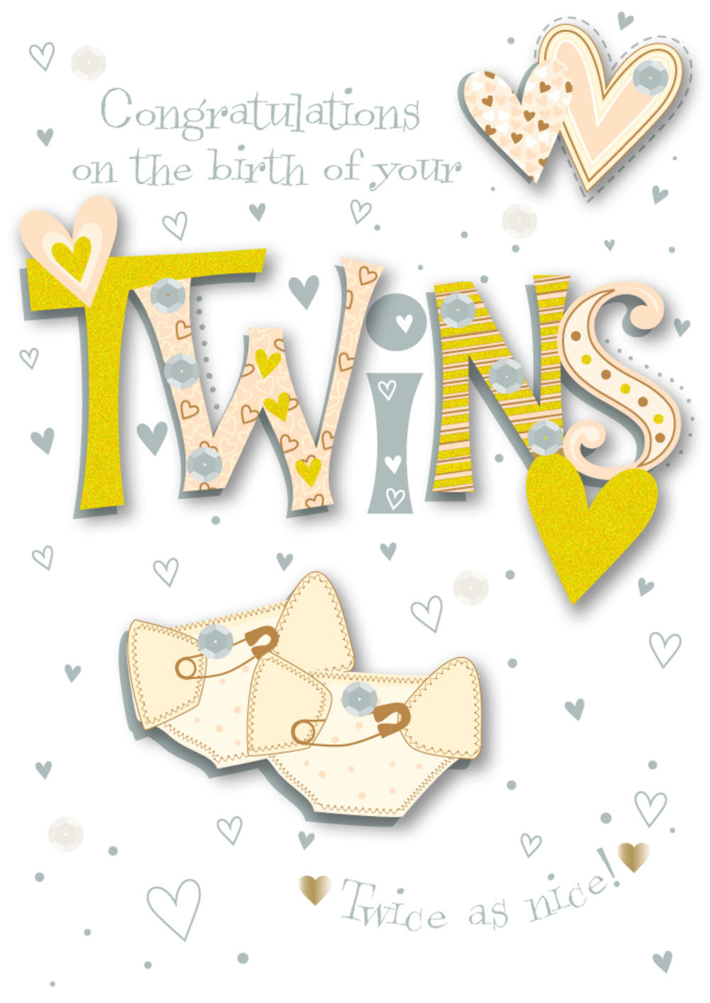 New Baby Twins Embellished Greeting Card