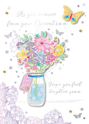 Get Well After Operation Embellished Greeting Card