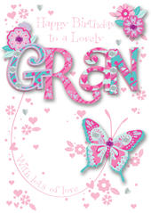Gran Birthday Embellished Greeting Card