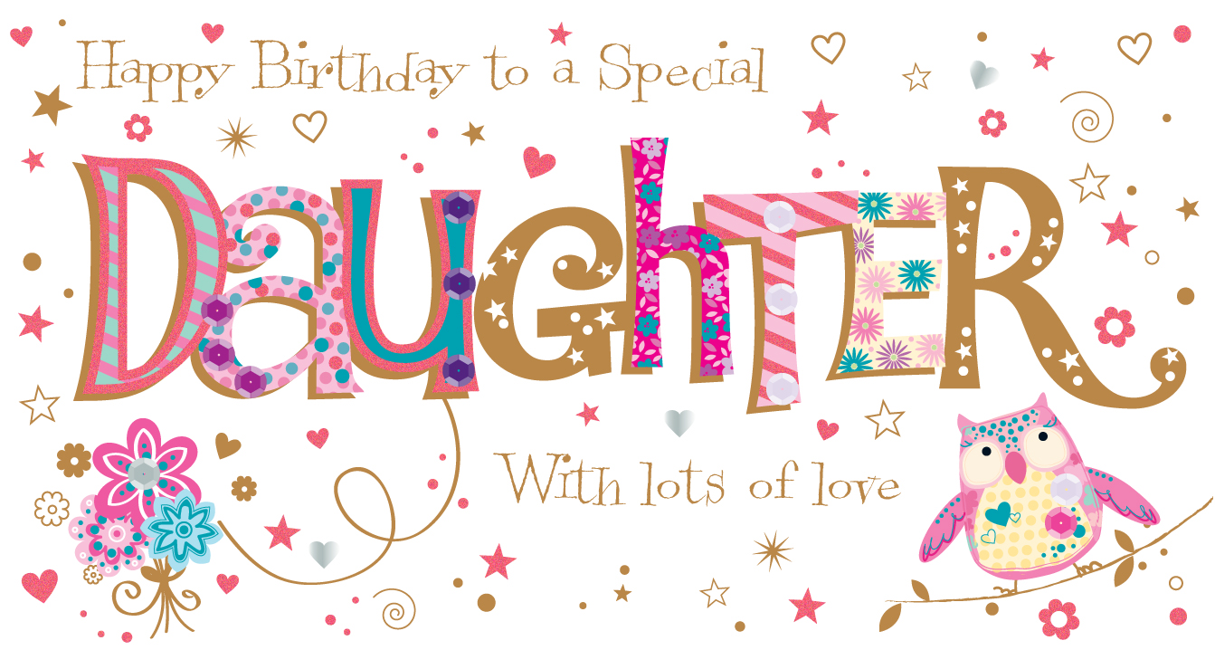 Terrific Daughter Birthday Handmade Embellished Greeting Card Cards Funny Birthday Cards Online Inifodamsfinfo