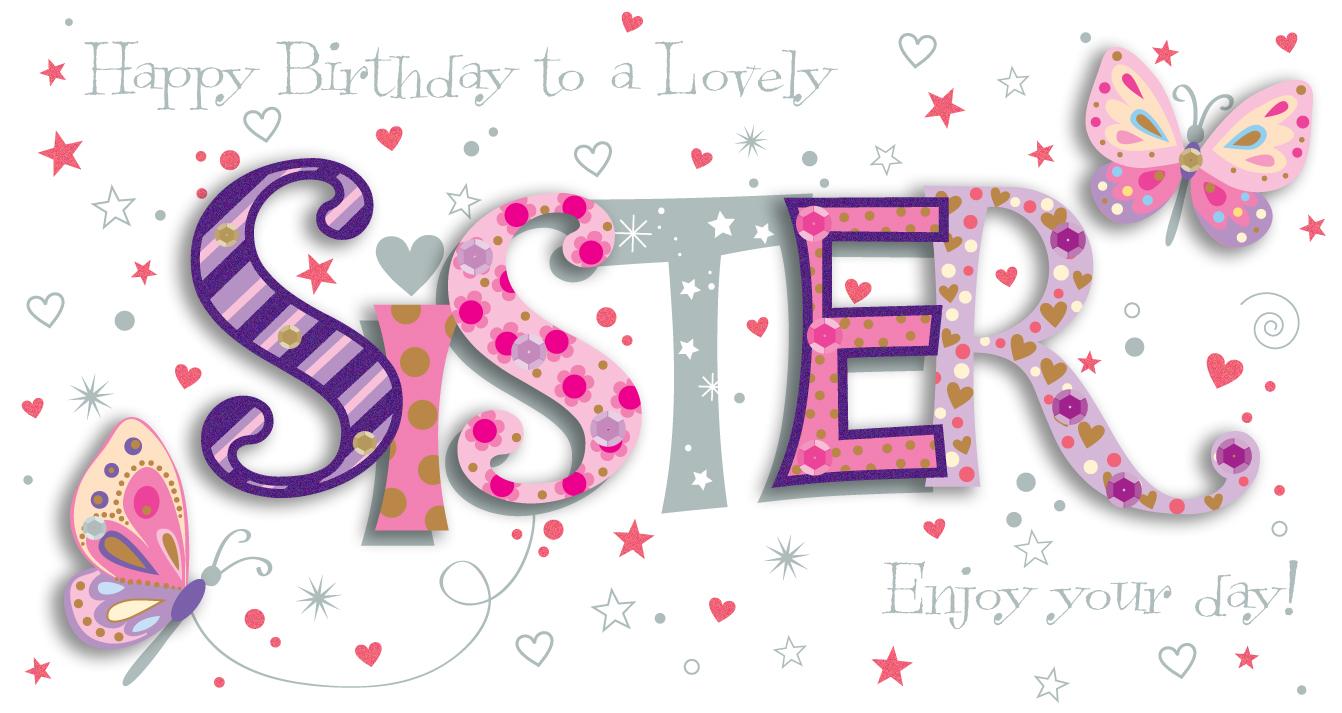 Sister Birthday Handmade Embellished Greeting Card Cards