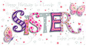 Sister Birthday Handmade Embellished Greeting Card