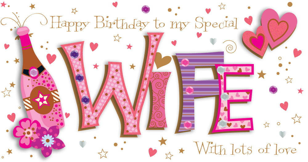 Wife Birthday Handmade Embellished Greeting Card