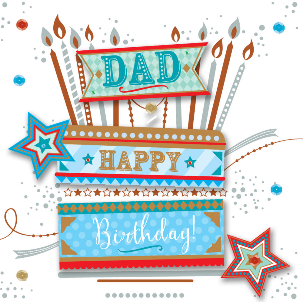 Dad Birthday Handmade Embellished Greeting Card