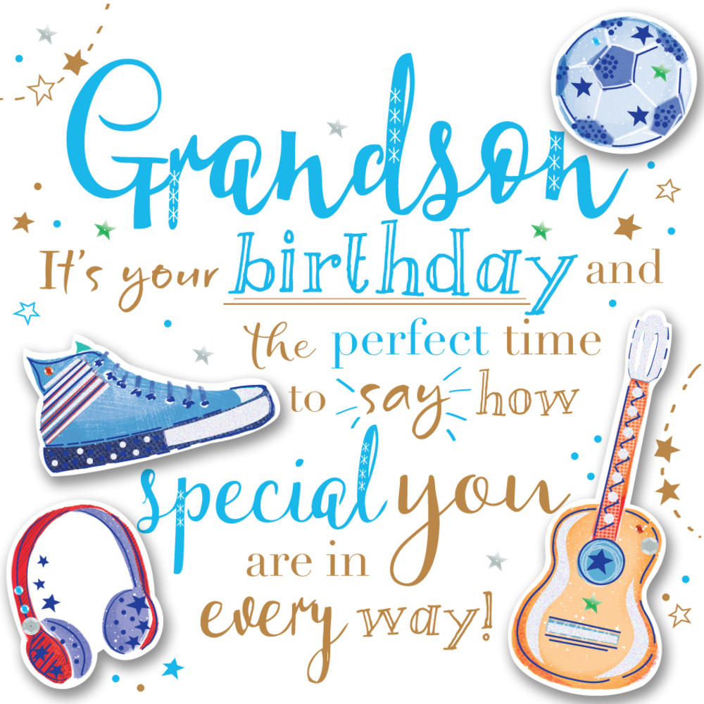 Grandson Birthday Handmade Embellished Greeting Card