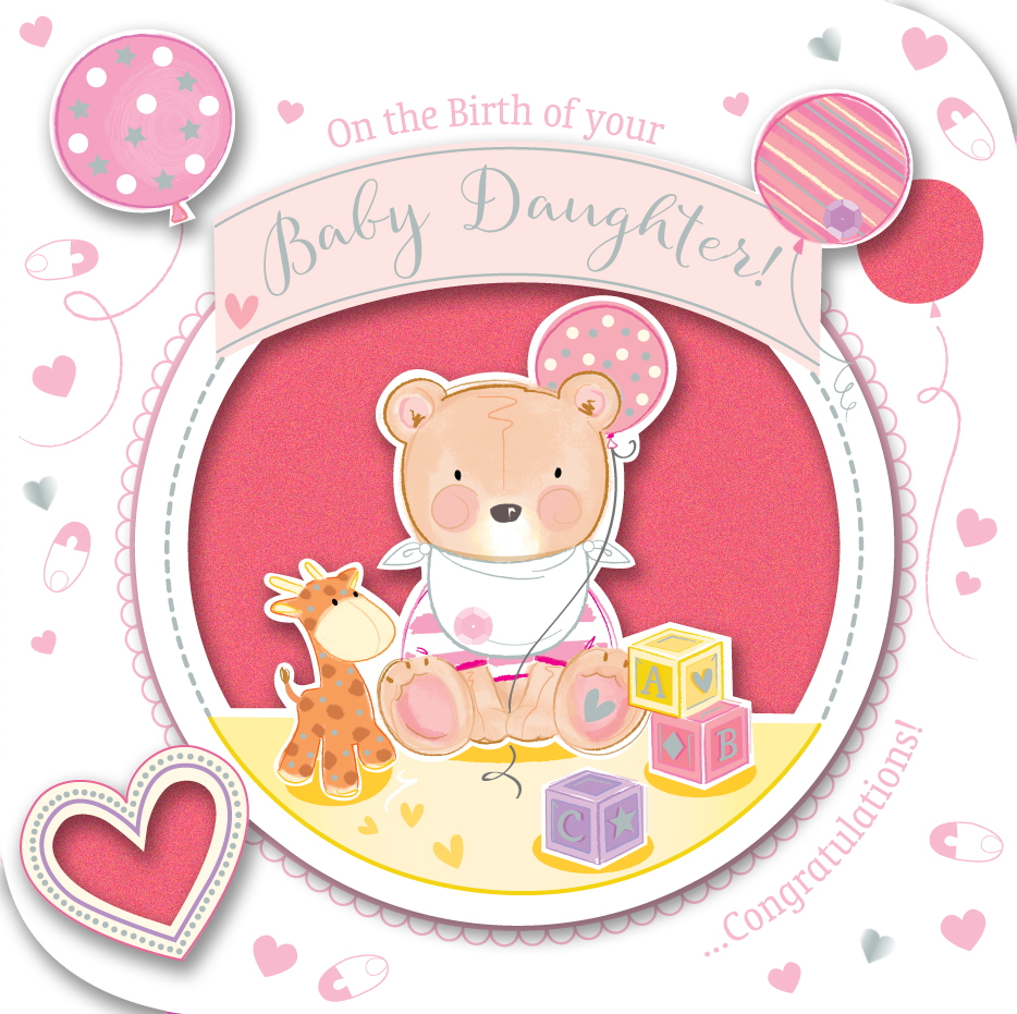 New baby girl handmade embellished greeting card cards love kates new baby girl handmade embellished greeting card m4hsunfo