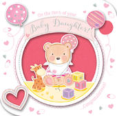 New Baby Girl Handmade Embellished Greeting Card
