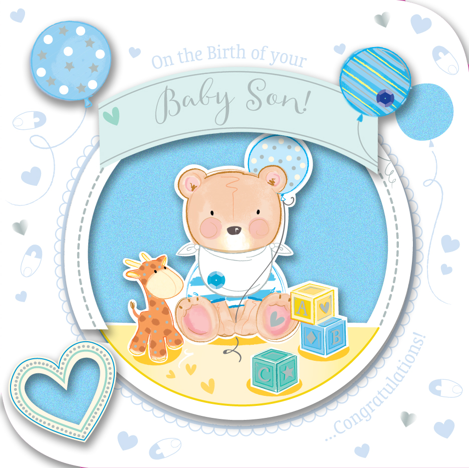 New baby boy handmade embellished greeting card cards love kates new baby boy handmade embellished greeting card m4hsunfo