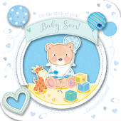 New Baby Boy Handmade Embellished Greeting Card